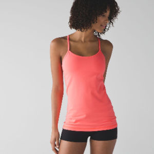 Lululemon Power Y Tank Luon Grapfruit with Pads